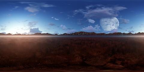 Panorama 360° con alba e cielo blu nella steppa