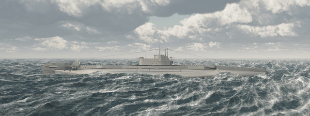 British submarine of World War II in the stormy sea