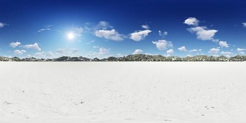 Panorama 360° con cielo blu nella neve