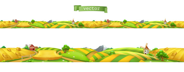 Farm. Landscape, seamless panorama. 3d vector illustration