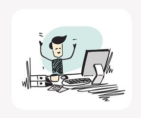 Business man working on working desk. Flat design. Cartoon Hand Drawn Sketch Vector Background.
