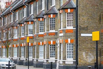 Traditional English terraced houses in London