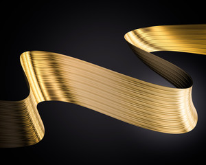 Golden foil ribbon. 3D realistic render of curled ribbon on black background. Wavy tape for event banner, poster and other promotion. Glow and shaded design element.