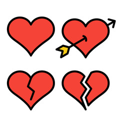Set of red outline broken heart icons isolated on white background. Line love pictograms. Amour sign. Valentines day symbols for website design, app, logo, ui. Editable stroke. Vector illustration.