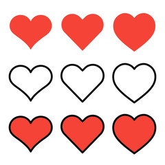 Set of outline red heart icons isolated on white background. Line love pictograms. Valentines day symbols for website design, mobile application, logo, ui. Editable stroke. Vector illustration. Eps10.