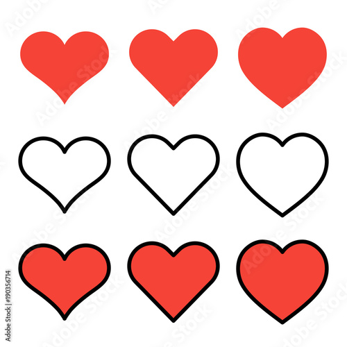 Set Of Outline Red Heart Icons Isolated On White Background Line