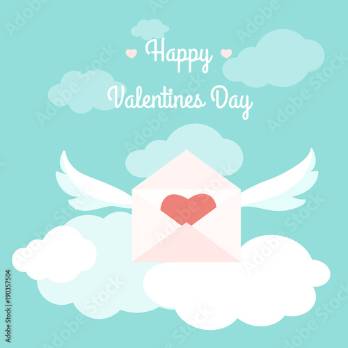 Happy Valentines Day Greeting Card Template Concept Vector Design  Illustration. Love Letter Open Envelope Pink