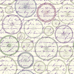 Seamless background pattern. Pattern of bycicles wheels.