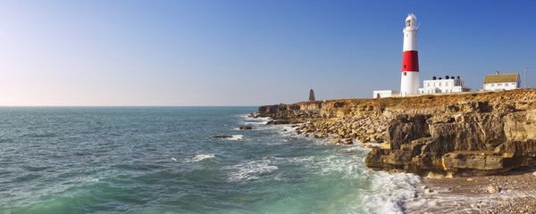 Portland Bill Lighthouse in Dorset, England on a sunny day