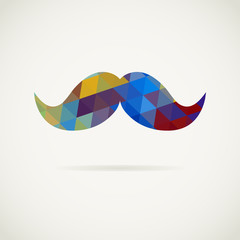 Moustache in colorful pattern of triangles with shadow. Vector hipster symbol in pop art style. All isolated and layered