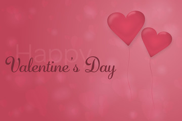 Valentine's day. Background with hearts and 2 balloons in the foreground. Text: Happy Valentine's Day.