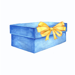 Watercolor illustration of a gift box with a ribbon bow.