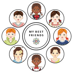 Vector flat multinational kids friends portraits in circles set. african black, caucasian and asian boy and girl kids icon smiling. Male, female characters Isolated illustration, white background.