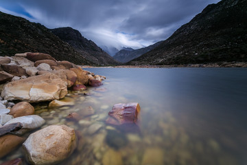 Wide angle landscape view of the Bergriver dam near the town of Franschoek in the western cape of south africa