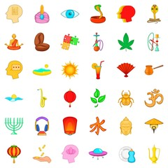 Meditation practice icons set, cartoon style