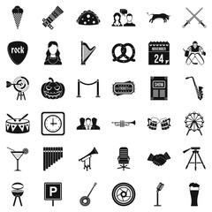 Congregation icons set, simple style
