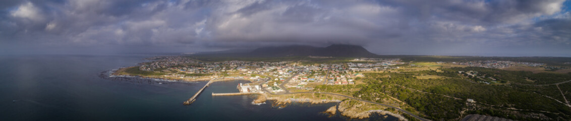 Panoramic view over the small fishing and tourist town of Gansbaai in the Overberg in South Africa, renowned for its great white shark diving