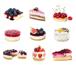 Deurstickers Dessert Set of desserts isolated on white