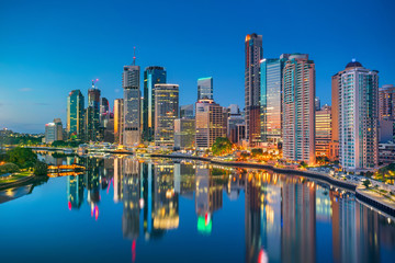 Aluminium Prints Oceania Brisbane. Cityscape image of Brisbane skyline, Australia during sunrise.