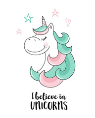 Custom vertical slats with your photo Believe in unicorns.  Vector unicorn quote illustration
