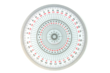 circle measuring equipment 360 degree on white background, tranparent protractor Wall mural