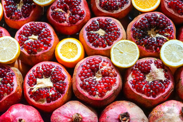 Pomegranate, orange and fruit