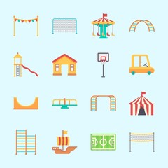 Icons about Amusement Park with fun, sailing boat, amusement park, skater, carousel and game zone