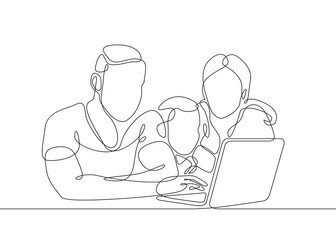 continuous line drawing family sitting at the laptop