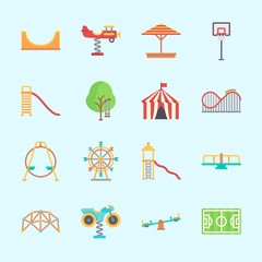 Icons about Amusement Park with ferris wheel, basketball, climbing, sunshade, skater and carrousel