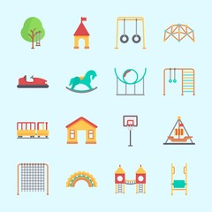 Icons about Amusement Park with child train, carousel, roller coaster, bumber car, horse swing and swing