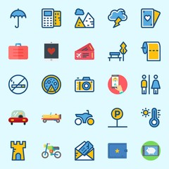 Icons set about Travel with toilet, pyramids, pizza, poker, plane ticket and tower