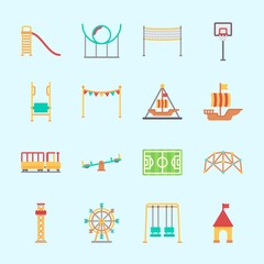 Icons about Amusement Park with amusement park, roller coaster, sailing boat, carousel, slide and swings