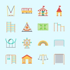 Icons about Amusement Park with pirate ship ride , roller coaster, horizontal bar, child train, horse carousel and game zone