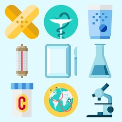 Icons set about Medical with surgery, worldwide, pill, microscope, patch and test tube