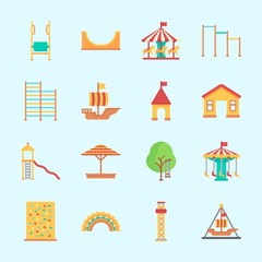 Icons about Amusement Park with skater, carousel, horse carousel, slide, amusement park and sailing boat