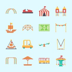 Icons about Amusement Park with playground, sunshade, toy car, pirate ship ride , carousel and climbing
