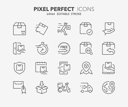 shipping and delivery thin line icons