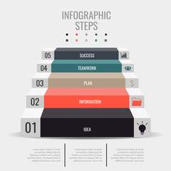 Infographic steps. Business Success icons.