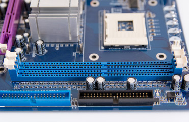 Wall Mural - close up of RAM connector slot on PC motherboard
