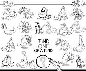 one of a kind game with dragons coloring book