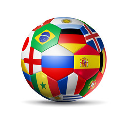 SoccerBall Flags on white background