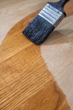 Brushing Oil onto Oak Surface