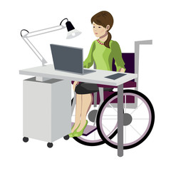 Young woman in wheelchair working with computer
