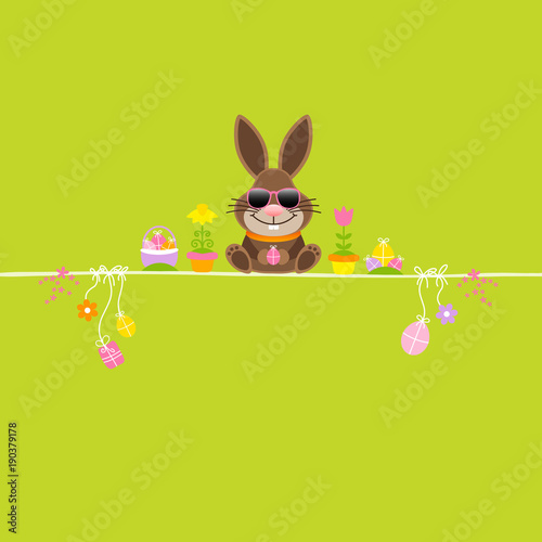 Easter Bunny Sunglasses Symbols Green Stock Image And Royalty