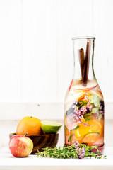 Summer fruit lemonade in a bottle