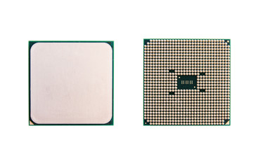 Wall Mural - CPU (central processing unit). computer chip processors isolated on white background with clipping path