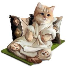 Ginger kitten lying on a pillows