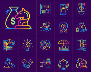 Linear icons set of finance, banking. Suitable for print design, presentation and design templates