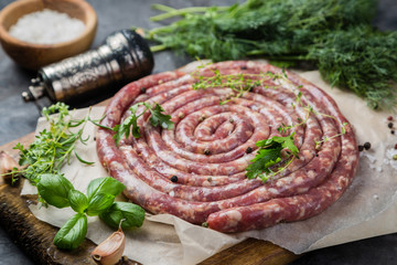 Raw sausage for grill