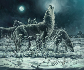 A flock of wolves at night, the leader howls to the moon. Digital paint.